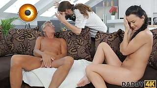 DADDY4K. Old pater lured into short sex anent son's excited girlfriend