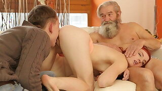 DADDY4K. Boy together with bearded father band together to punish girl