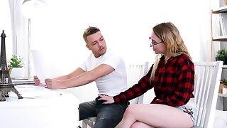 Nerdy student seduces tutor