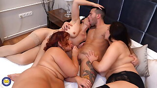 Three busty mothers sharing lucky boy