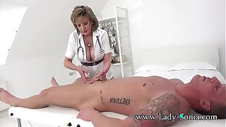 Lady Sonia gives a rub down then gets fucked hard