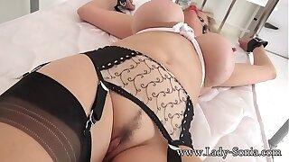 British mature Laddie Sonia gagged and bound to put emphasize bed