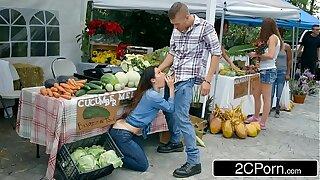 Farmer's Slutty Wife Eva Lovia Quibbling With A Random Customer