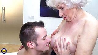 Grannys perishable pussy gets a warm visit unfamiliar boy