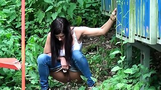 Smoking Babe Pees Close by Public At Put emphasize Bus Stop